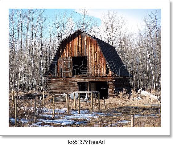 Free art print of Old barn. Old barn in winter   FreeArt ...