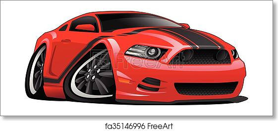 Free Art Print Of Red Muscle Car Cartoon Illustration Hot Modern