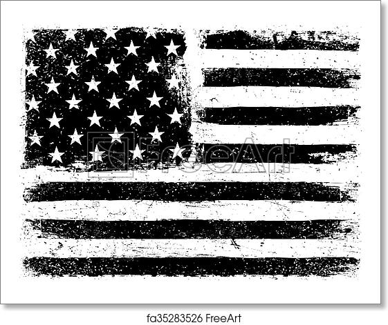 Free art print of American Flag Background  Grunge Aged Vector Template   Horizontal orientation  Monochrome gamut  Black and white  Grunge layers  can