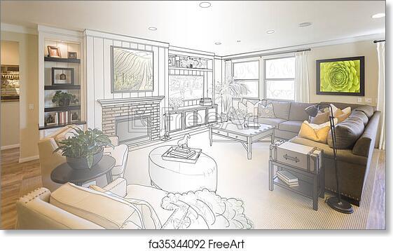 Free Art Print Of Living Room Drawing Gradation Into Photograph