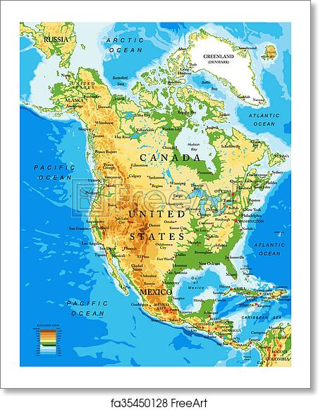 Free art print of Physical map of North America