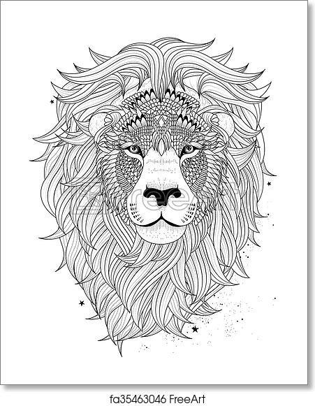 Free Art Print Of Lion Head Coloring Page