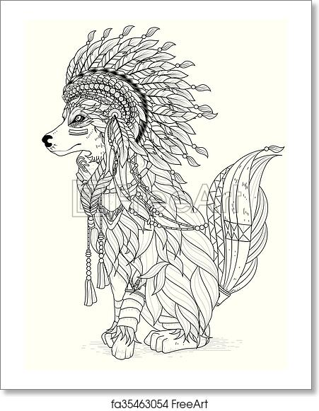 Free art print of Lovely wolf coloring page. Lovely Indian
