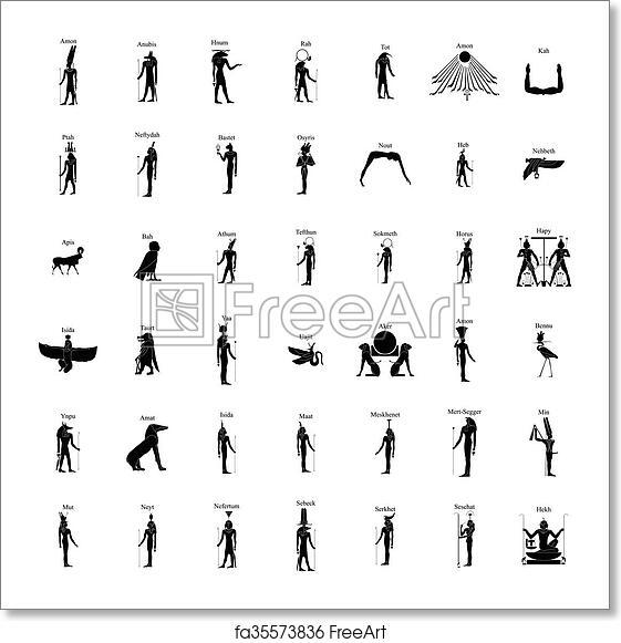 Free Art Print Of Egyptian Gods Silhouette Set Egyptian Gods