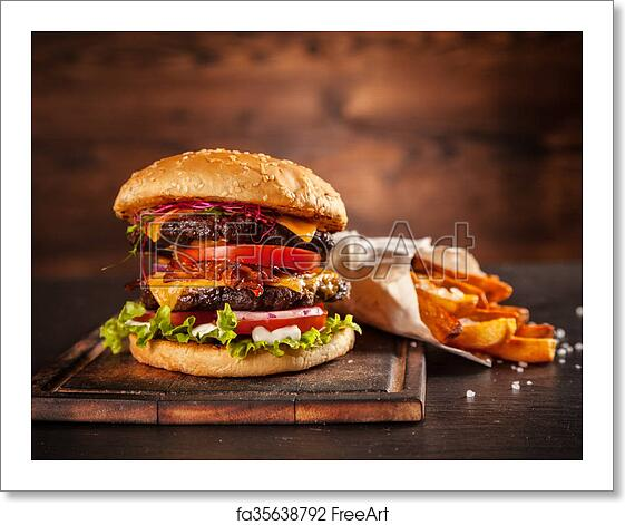 Free Art Print Of Fresh Home Made Hamburger Served On Wood Fresh Home Made Hamburger Served On Wooded Table With Pomme Fries Freeart Fa35638792