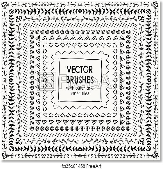 Free art print of Vector Hand Drawn Balck Pattern Brushes, Borders, Frames
