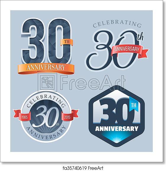 30 Year Anniversary Symbol: Free Art Print Of 30th Anniversary Logo. A Set Of Symbols