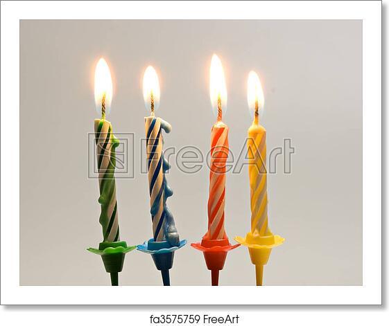 Free Art Print Of Burning Birthday Candles Close Up