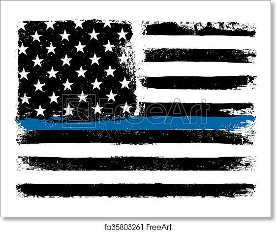 free art print of american flag with thin blue line grunge aged