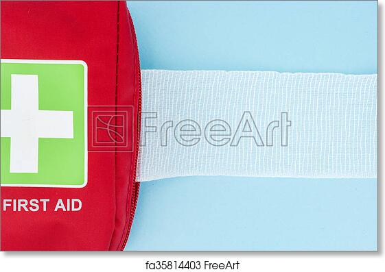 Free Art Print Of Red First Aid Kit With Unrolled Gauze On Light