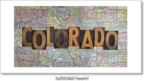 Colorado Map Art.Free Art Print Of Vintage Colorado Map Word Colorado In Antique