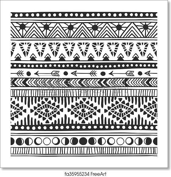 1c67892702398 Textile print with navajo tribal ornament. Hipster black Ink art work. Aztec  vector illustration. Hand Drawn seamless pattern. Ethnic pattern with  american ...
