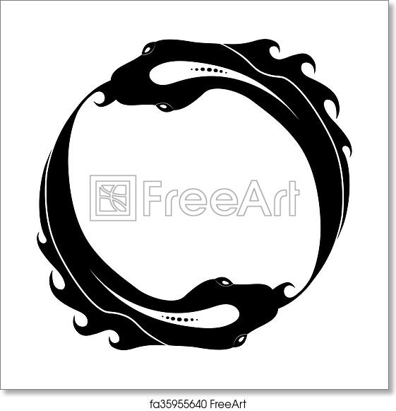 Free Art Print Of Ouroboros Tattoo Design Fish Snake Isolated