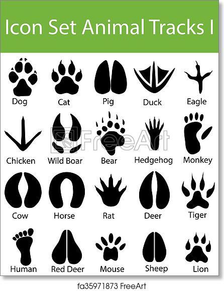 graphic regarding Printable Animal Tracks known as Totally free artwork print of Icon Fastened Animal Tunes I
