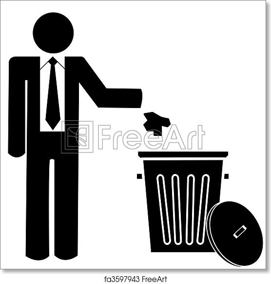 graphic regarding Trash Sign Printable named Totally free artwork print of Office environment guy throwing rubbish into a trash can - no littering