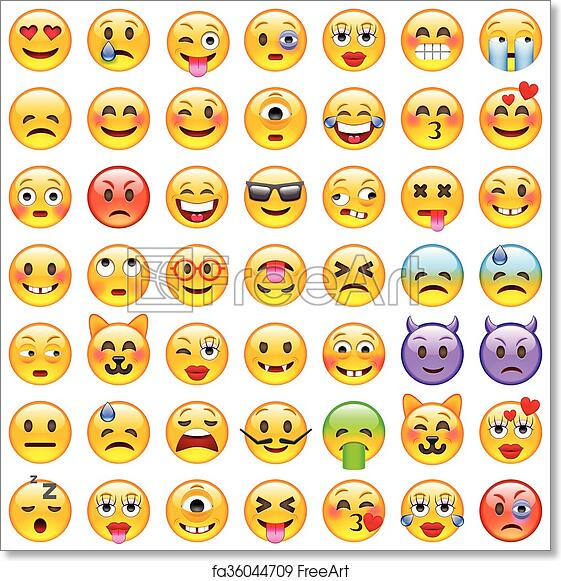 picture regarding Printable Emoticons Free called Totally free artwork print of Preset of Emoticons. Fastened of Emoji. Smile icons