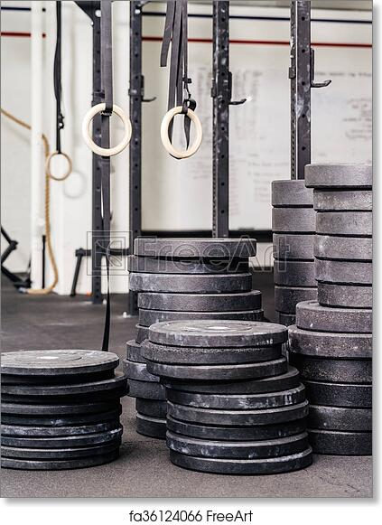 Free art print of Stacks of weights at the gym