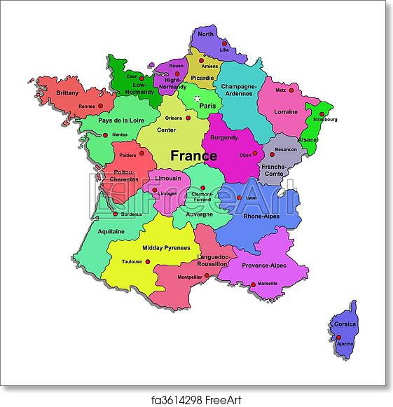 Map Of France To Print.Free Art Print Of Color France Map