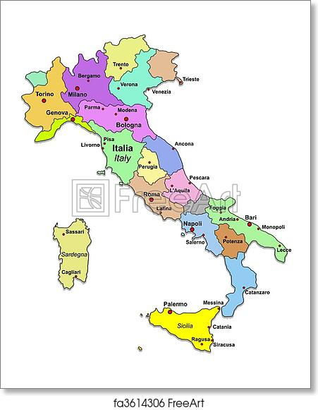 Free Map Of Italy.Free Art Print Of Italy Map Italy Map Over White Freeart Fa3614306