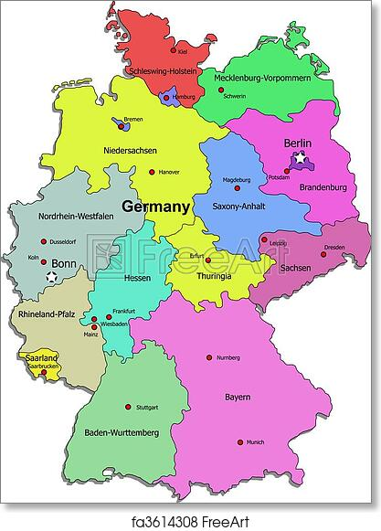 graphic regarding Printable Maps of Germany called Cost-free artwork print of Germany map