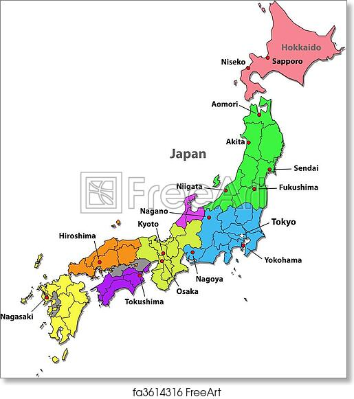 photo about Printable Maps of Japan identify Free of charge artwork print of Japan map