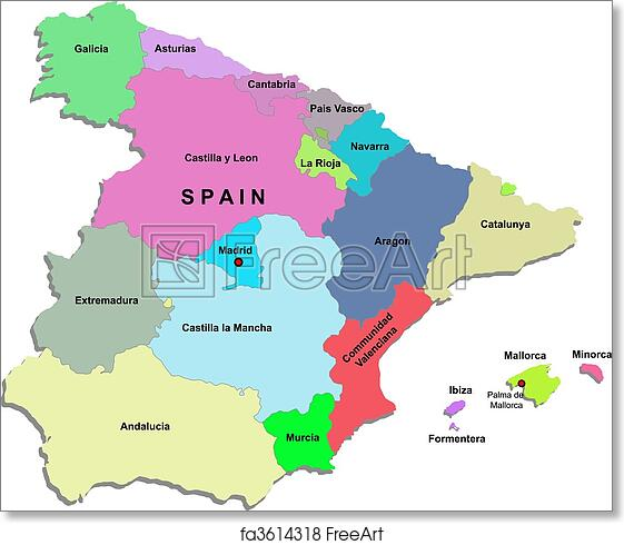 photograph relating to Printable Maps of Spain named Cost-free artwork print of Spain map