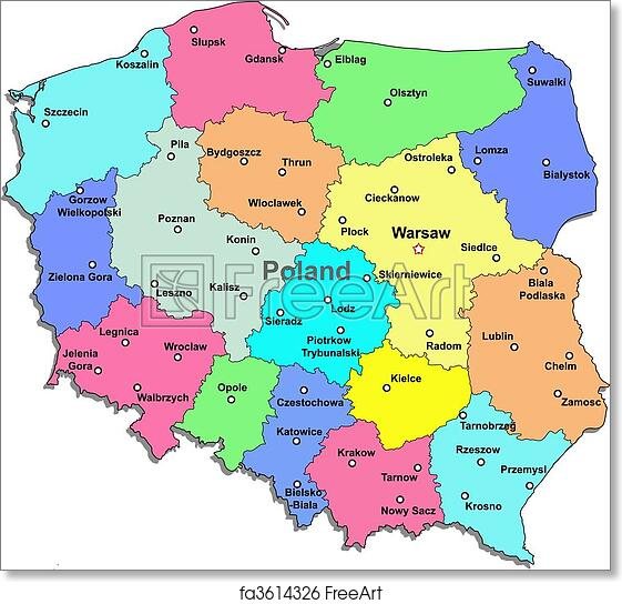 photo relating to Printable Map of Poland called Free of charge artwork print of Poland map