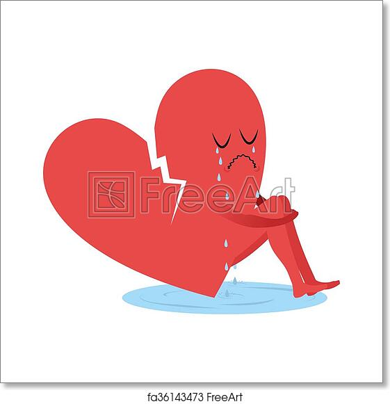Free Art Print Of Broken Heart Is Crying Symbol Of Love Sitting In