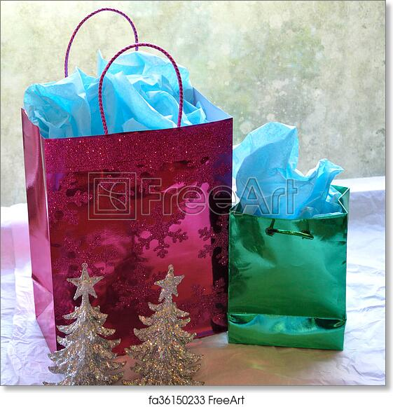 Free art print of Sparkly Christmas gift bags and trees. Two ...
