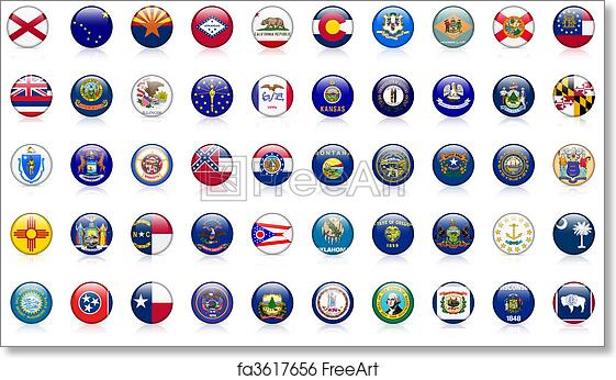 picture relating to Printable State Flags titled Absolutely free artwork print of United states of america region flags