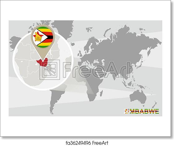 Free art print of World map with magnified Zimbabwe. World map with ...