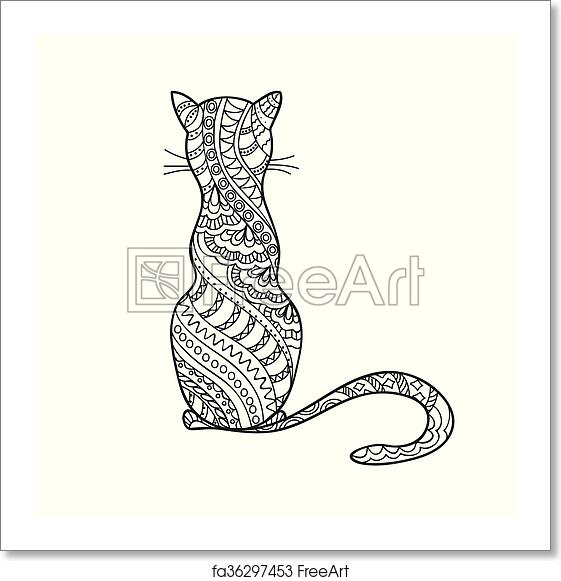 Free Art Print Of Hand Drawn Decorated Cartoon Cat Hand Drawn Decorated Cartoon Cat In Boho Style Pencil Drawing Image For Adult Or Children Coloring Book Page Tattoo Freeart Fa36297453
