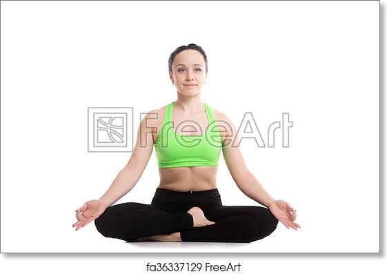 free art print of ardha padmasana yoga pose serene fitness girl