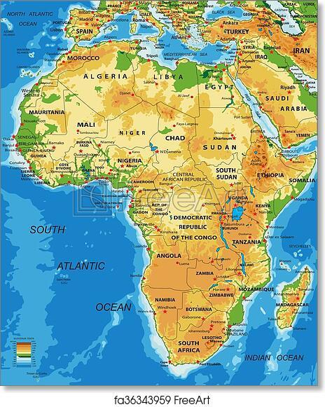 Africa Physical Map 2014 Free art print of Afri...