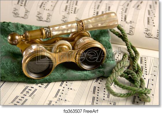 Free art print of Antique Opera Glasses on Sheet Music