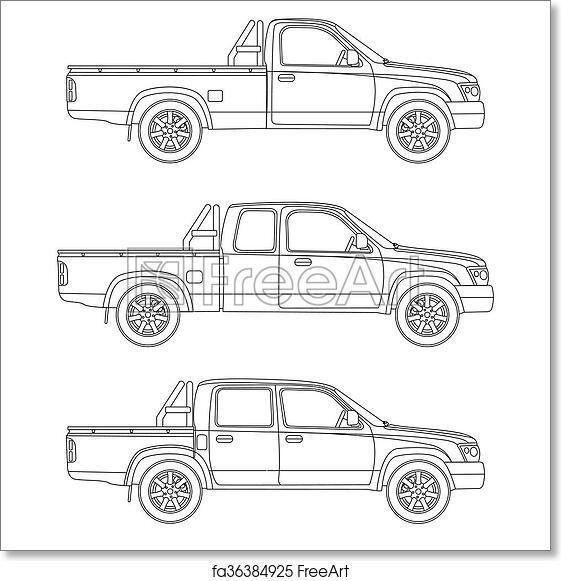 Free Art Print Of Car Pickup Truck Vector Illustration