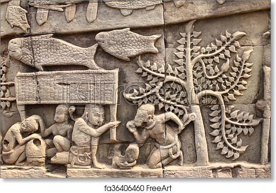 Free art print of wall carving of prasat bayon temple angkor wat