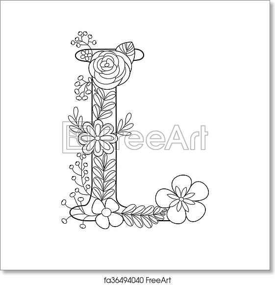 Free art print of Letter L coloring book for adults vector