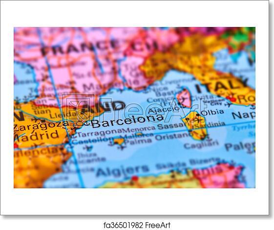 World Map Iberian Peninsula.Free Art Print Of Barcelona City In Spain On The Map Barcelona City