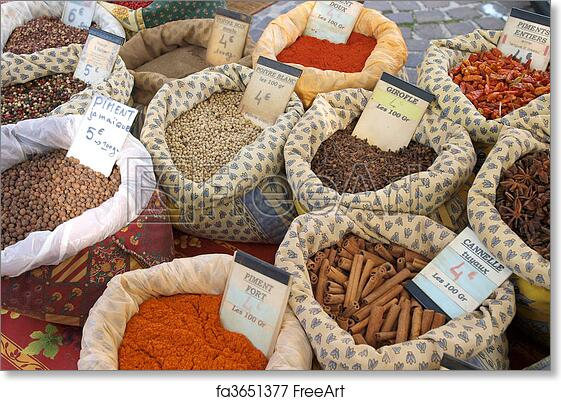 Free art print of Spices at the market