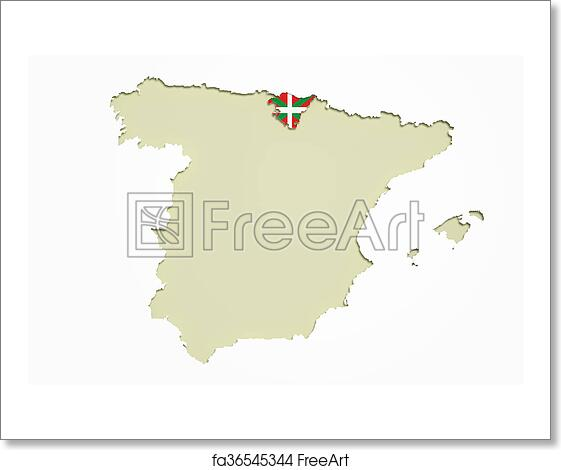 Basque Map Of Spain.Free Art Print Of Map Of Basque Country And Flag