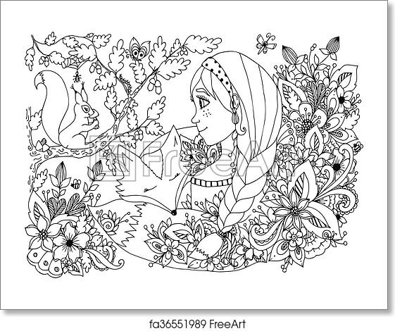 Free art print of Vector illustration zentangl girl with freckles looking  at the squirrel, sleeping face in flowers. Cartoon, child, forest dwellers.  ...