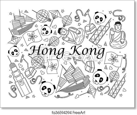 Free art print of Hong Kong coloring book vector