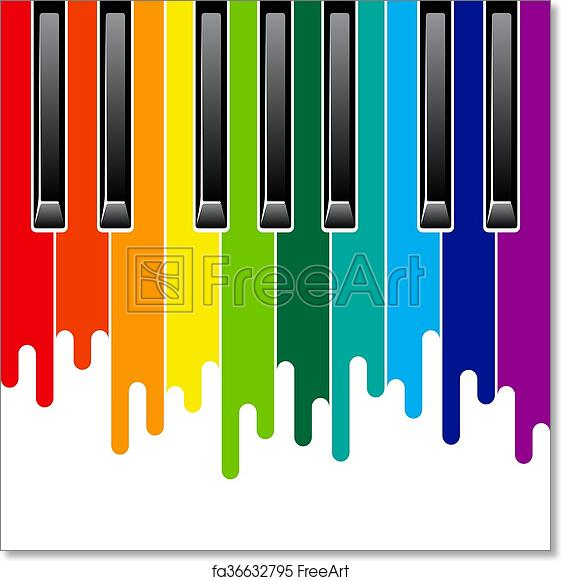 picture about Piano Keyboard Printable called Totally free artwork print of Rainbow piano keyboard