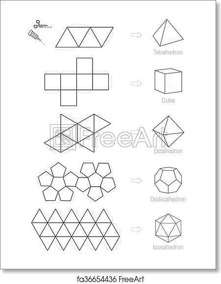 Free art print of Platonic Solids Craft Pattern. Platonic