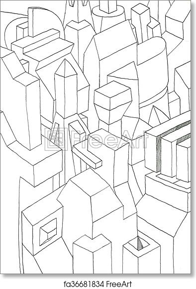 Free Art Print Of Monochrome Geometric Forms 3d Effect Ink Drawing