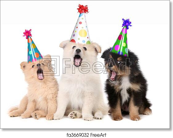 Free Art Print Of Puppies Singing Happy Birthday Song Humorous Wearing Silly Hats