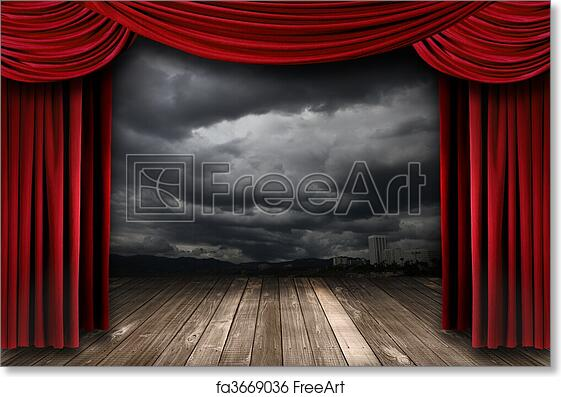 Free Art Print Of Bright Stage With Red Velvet Theater Curtains