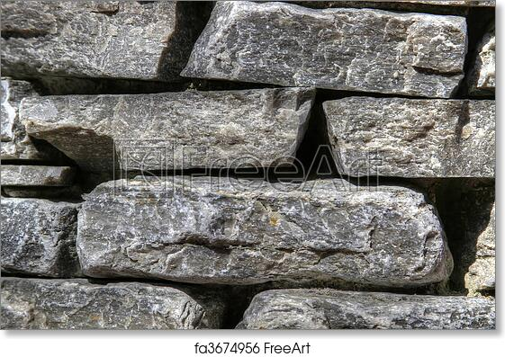 Free Art Print Of Stacked Stone Garden Wall