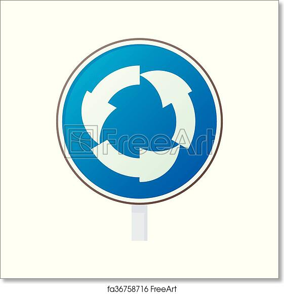 free art print of blue round road sign with white arrows icon blue
